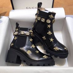 Gucci embroidered leather ankle boot with belt The ankle boots in embroidered black leather is designed with lug sole and elastic inserts on… Sock Shoes, Cute Shoes, Me Too Shoes, Dream Shoes, Crazy Shoes, Fashion Models, Fashion Shoes, Fashion Fashion, Latest Fashion