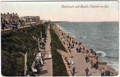 Vintage postcard of Clacton-on-Sea, esplanade and beach, Essex, c.1931