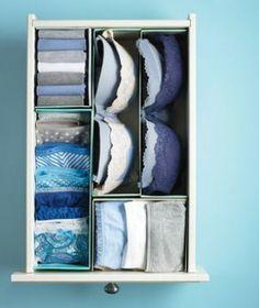 Slim idee: schoenendozen doormidden knippen en gebruiken om je lades in te delen/ Lijkt me heerlijk zo'n opgeruimde la....
