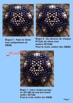 J'ai cherché sur internet un tuto pour faire ces motifs petites fleurs pour une perle perlées bois 16 mmJe n'ai pas trouvéJ'en ai donc fait... Seed Bead Jewelry, Seed Beads, Beaded Jewelry, Beaded Bead, Beaded Rings, Beading Patterns, Christmas Bulbs, Triangle, Bubbles