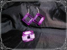 Conjunto pendientes y anillos con cuadrados y abalorios en miyuki...