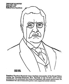 theodore teddy roosevelt coloring page