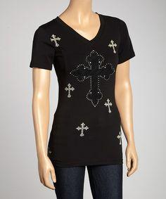 Look at this #zulilyfind! Black Mesh Cross V-Neck Tee #zulilyfinds