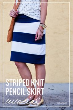 Thick Striped Knit Pencil Skirt Tutorial (makes 2 skirts!)