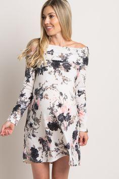 bfb30add1e1 White Pink Floral Off Shoulder Knit Maternity Dress