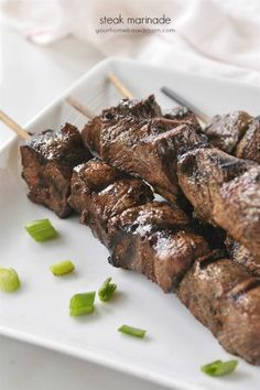 This flavorful steak marinade comes together easily and works perfect on lots of different cuts of meat. You have to try it this summer! Steak Marinade Recipes, Meat Marinade, Beef Recipes, Cooking Recipes, Steak Marinades, Kabob Recipes, Savoury Recipes, Fast Recipes, Sauce Recipes