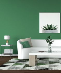 Fresh and natural emerald green living room. Peach Walls, Yellow Walls, Light Grey Walls, Beige Walls, Colorful Furniture, White Furniture, Natural Emerald, Emerald Green, Living Room Green