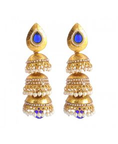 Scintillating Beads Pearl Polki Copper Jhumki Earring_Blue27