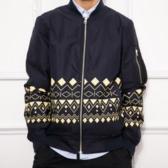 Geometric jacket coat for men cool bomber jacket XL