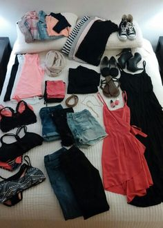 Packing list 10 day summer vacation in Colorado. Denim, black, grey, coral, & white. 2 Swimsuits, 2 jeans, 3 shorts, 3 tanks, 4 tees, 1 sweater, 1 3/4 sleeve, denim vest, cardi, loose plaid button up, converse, flats, sandals, booties, maxi dress, day dress, necklace, nude scarf for plane, pjs, nail polish, accessories, undergarments. All set to go!