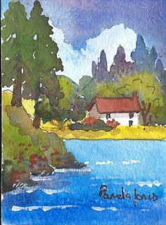 ACEO Original watercolour Lakeside Cottage England miniature painting Gift Art and Collectables by Pamelajonesartstudio on Etsy https://www.etsy.com/listing/232812834/aceo-original-watercolour-lakeside