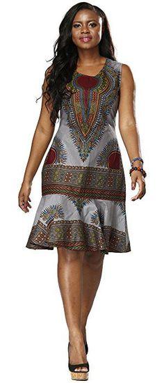 Shenbolen Woman African Print Dress Dashiki Traditional Dress Party Dresses (XX-Large, A) African Inspired Fashion, Latest African Fashion Dresses, African Dresses For Women, African Print Fashion, Africa Fashion, African Attire, African Wear, African Style, African Dress Patterns