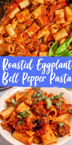 This roasted eggplant and red bell pepper pasta with a made from scratch tomato sauce is vegetarian comfort food at it's finest! Vegetarian Pasta Dishes, Vegetarian Comfort Food, Vegetarian Recipes, Cooking Recipes, Healthy Recipes, Healthy Nutrition, Roasted Eggplant Pasta, Roast Eggplant, Eggplant Parmesan