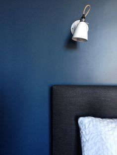 Stiffkey Blue Farrow and Ball Walls, Original BTC wall lights. We chose this for our bedroom and love it.deep but not too dark. Blue Bedroom Walls, Blue Bedrooms, Stiffkey Blue, Farrow Ball, Color Inspiration, Hue, Wall Lights, Interior Design, The Originals