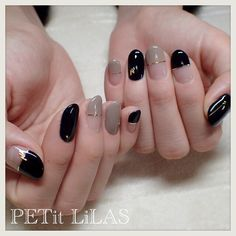 french nails tips Middle Korean Nail Art, Korean Nails, Korean Art, Black Korean, Glitter Nail Art, Gel Nail Art, Nail Nail, Red Nail, Red Glitter
