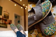Patch ruined fabric shoes. Ashley Ann Photography posted a tutorial for repairing Tom's by adding cute fabric. This is so cute, I would consider doing this to shoes that are brand new!