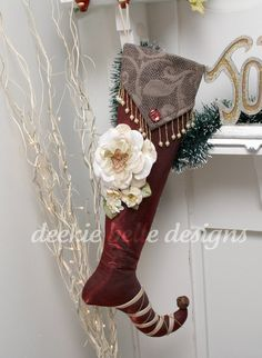 Shabby Rose Christmas Stocking in Wine by Rusty Bella READY TO SHIP