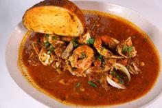 Guy Fieri's Nor Cal Cioppino Recipe by Guy Fieri - The Chew The Chew Recipes, Fish Recipes, Seafood Recipes, Great Recipes, Soup Recipes, Cooking Recipes, Favorite Recipes, Healthy Recipes, Recipies
