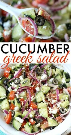 Cucumber Greek Salad Recipe - - This Cucumber Greek Salad is light and refreshing, and full of healthy ingredients. With minimal prep, it makes an easy side dish for any meal! Greek Salad Recipes, Healthy Salad Recipes, Diet Recipes, Cooking Recipes, Crockpot Recipes, Cucumber Recipes, Recipes With Cucumbers, Greek Salad Recipe Authentic, Best Greek Salad