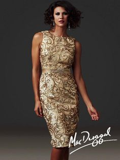 White and Gold Wedding. Mother of the Bride. Mother of the Groom. Dress or Suit With Jacket. 64567D   Mac Duggal Gold Knee Length Cocktail Dress