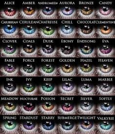 Eye color chart for the fun humans like me who wish for their characters to have entrancing, wild eyes Writing Advice, Writing Help, Writing A Book, Writing Prompts, Writing Ideas, Story Prompts, Images Gif, Colored Contacts, Cool Contacts