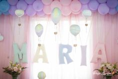 Pastel Rainbow Hot Air Balloon Party via Kara's Party : Name
