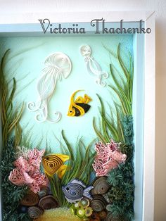 Quilling art, sea bottom, jellyfishes