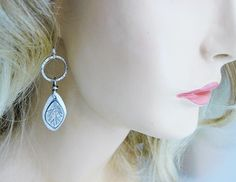 Artisan crafted leaf earrings  silver forest leaf  by Colorismine