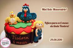 Sweet Cucas and Cupcakes by Rosângela Rolim: Mini Bolo de Mesversário Galinha Pintadinha