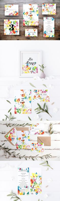 Spring and summer wedding card set Watercolor Images, Watercolor Artwork, Wedding Templates, Card Templates, Summer Wedding, Wedding Day, Invitation Cards, Invitations, Wedding Memorial