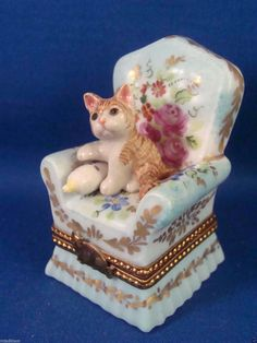 Beautiful Floral Chair with Kitten Baby Bottle Authentic French Limoges Box | eBay - It's a cat, that's all that matters...