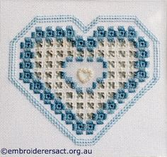 Guild Hardanger Sample stitched by Bonnie Crawford Hardanger Embroidery, Hand Embroidery Stitches, Embroidery Ideas, Valentines Day Hearts, Needful Things, Geometry, Diy And Crafts, Cross Stitch, Weaving