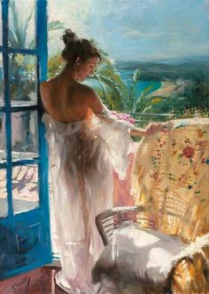Artist: Vicente Romero Redondo  (woman in sheer white dress on balcony)