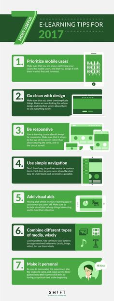 7 Most Useful eLearning Tips for 2017 Infographic - http://elearninginfographics.com/2017-most-useful-elearning-tips-infographic/