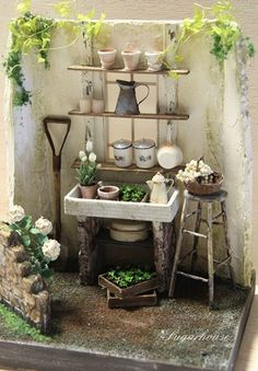 This scale miniature crate with four pots of herbs is the perfect addition to your dollhouse garden or fairy garden display. The tiny crate has been stained, distressed and labeled. Miniature Plants, Miniature Rooms, Miniature Fairy Gardens, Miniature Houses, Miniature Furniture, Fairy Furniture, Doll Furniture, Dollhouse Furniture, Diy Dollhouse