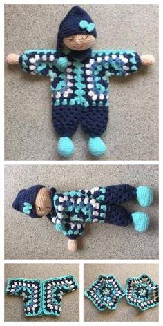 Doll Amigurumi Free Pattern, Doll Patterns Free, Crochet Dolls Free Patterns, Crochet Doll Pattern, Amigurumi Doll, Crochet Fairy, Crochet Lovey, Free Crochet, Crochet Toys
