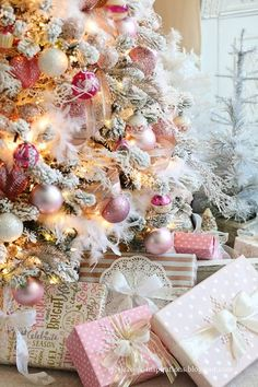 Christmas Decorations - Christmas Home Tour 2018 - pink living room Pink Christmas Decorations, Pink Christmas Tree, Shabby Chic Christmas, Beautiful Christmas, Vintage Christmas, Christmas Holidays, Holiday Decor, Victorian Christmas, Silver Christmas