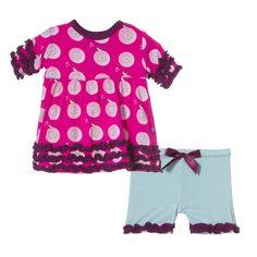 KicKee Pants Short Sleeve Babydoll Outfit Set - Calypso Record Bird