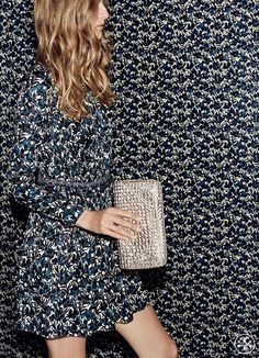 The print of the season: irises, hand-painted in high contrast   Tory Burch Holiday 2014