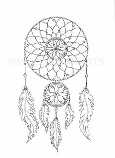 Dream Catcher Printable Coloring Page  Adult by MoonDrawArts