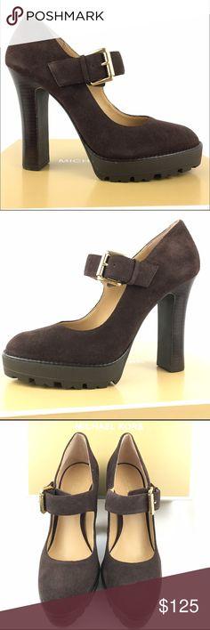 Michael Kors heels 8.5 dark brown suede leather New with box platform Michael Kors Shoes Heels