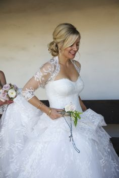 Wedding Gown by @Monique Otero Otero Lhuillier   See this traditional wedding on SMP -- http://www.StyleMePretty.com/california-weddings/santa-barbara/2014/01/28/al-fresco-wedding-at-el-presidio-chapel/ Shannon Jayne Miller