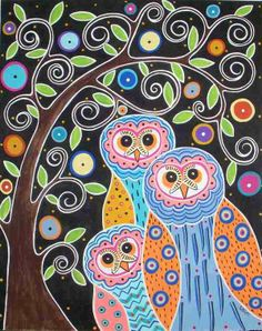 owls in tree quilt