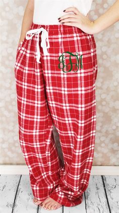 Christmas is just around the corner! Make this year memorable with monogrammed Christmas Pajamas! Our Monogrammed Flannel PJ Pants are perfect! The ultimate winner in year-round style and comfort. Features pocketsCovered elastic waistband tapingLonger length  roomy cutConstructed from super-soft 4oz 100% cotton flannelUnisex Fit-**The Adult Red Dot Spot PJ Pants are Women's Cut.**A 3 Initial Monogram will automatically appear with a larger center letter (signifying the last name)...