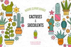 This collection of cactuses and succulents is a perfect way to decorate invitation cards, save the dates, wedding invitations and also can be used to make t-shirt design, logos and all other great things.