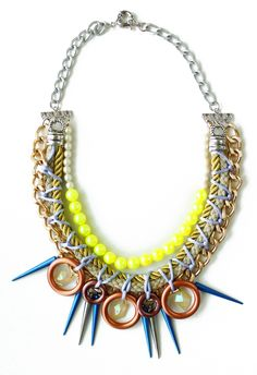 The Glowstick- USD80  #jewelry #neon #accessories #necklace #colors #crafts #fashion #tribal