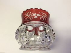 Vtg Tiffin Kings Crown Indiana Glass Thumbprint Ruby Flashed Toothpick Holder | eBay