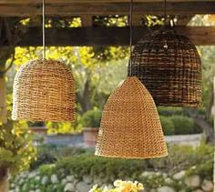Baskets turned upside down and used as lamp fixtures.