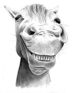 Cute artwork of smiling horse