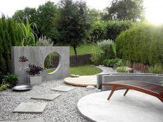 Contemporary garden design. Love the concrete sculpture.